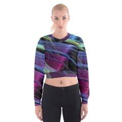 Abstract Satin Women s Cropped Sweatshirt