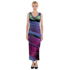 Abstract Satin Fitted Maxi Dress