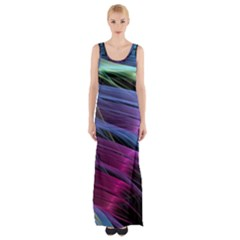 Abstract Satin Maxi Thigh Split Dress