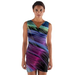 Abstract Satin Wrap Front Bodycon Dress