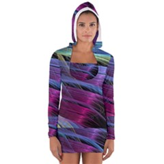 Abstract Satin Women s Long Sleeve Hooded T-shirt
