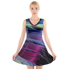 Abstract Satin V-Neck Sleeveless Skater Dress