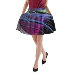 Abstract Satin A-Line Pocket Skirt