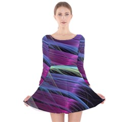 Abstract Satin Long Sleeve Velvet Skater Dress