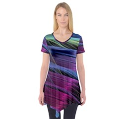 Abstract Satin Short Sleeve Tunic