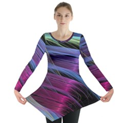 Abstract Satin Long Sleeve Tunic