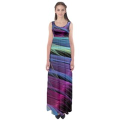 Abstract Satin Empire Waist Maxi Dress