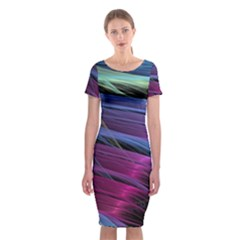 Abstract Satin Classic Short Sleeve Midi Dress