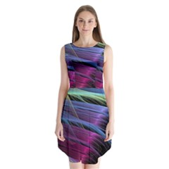 Abstract Satin Sleeveless Chiffon Dress