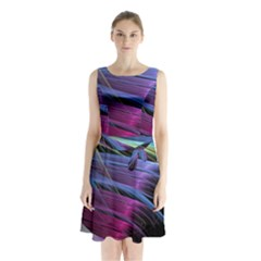 Abstract Satin Sleeveless Chiffon Waist Tie Dress