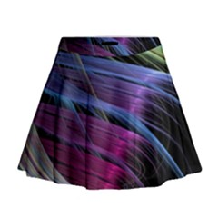 Abstract Satin Mini Flare Skirt