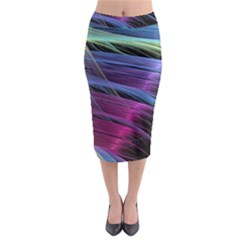 Abstract Satin Midi Pencil Skirt