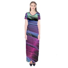Abstract Satin Short Sleeve Maxi Dress