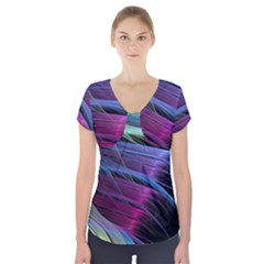 Abstract Satin Short Sleeve Front Detail Top