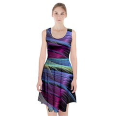 Abstract Satin Racerback Midi Dress