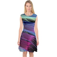 Abstract Satin Capsleeve Midi Dress