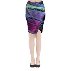 Abstract Satin Midi Wrap Pencil Skirt