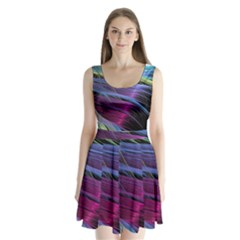 Abstract Satin Split Back Mini Dress