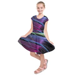 Abstract Satin Kids  Short Sleeve Dress