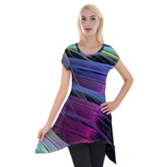 Abstract Satin Short Sleeve Side Drop Tunic