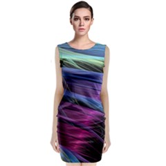 Abstract Satin Sleeveless Velvet Midi Dress