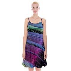 Abstract Satin Spaghetti Strap Velvet Dress
