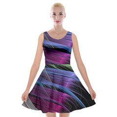 Abstract Satin Velvet Skater Dress