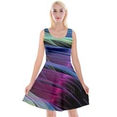 Abstract Satin Reversible Velvet Sleeveless Dress