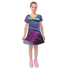 Abstract Satin Kids  Short Sleeve Velvet Dress