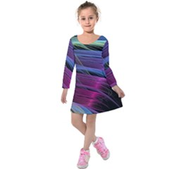 Abstract Satin Kids  Long Sleeve Velvet Dress