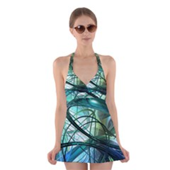 Abstract Halter Swimsuit Dress