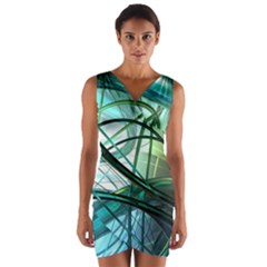Abstract Wrap Front Bodycon Dress