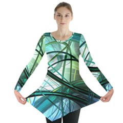 Abstract Long Sleeve Tunic