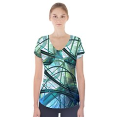 Abstract Short Sleeve Front Detail Top