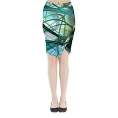 Abstract Midi Wrap Pencil Skirt