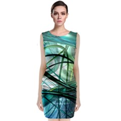 Abstract Sleeveless Velvet Midi Dress