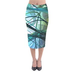 Abstract Velvet Midi Pencil Skirt