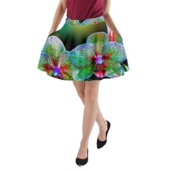 Alien Orchids Floral Art Photograph A-Line Pocket Skirt