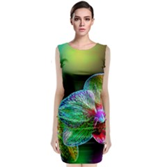 Alien Orchids Floral Art Photograph Sleeveless Velvet Midi Dress