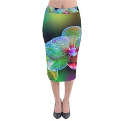 Alien Orchids Floral Art Photograph Velvet Midi Pencil Skirt