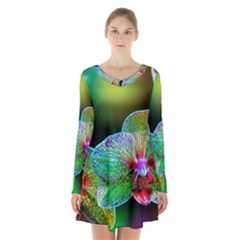 Alien Orchids Floral Art Photograph Long Sleeve Velvet V Neck Dress