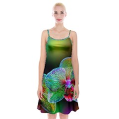 Alien Orchids Floral Art Photograph Spaghetti Strap Velvet Dress