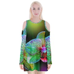Alien Orchids Floral Art Photograph Velvet Long Sleeve Shoulder Cutout Dress