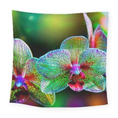 Alien Orchids Floral Art Photograph Square Tapestry (large)