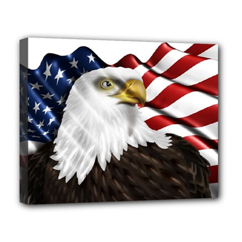 American Eagle Flag Sticker Symbol Of The Americans Deluxe Canvas 20  X 16