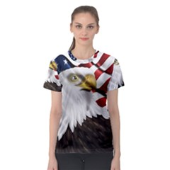 American Eagle Flag Sticker Symbol Of The Americans Women s Sport Mesh Tee