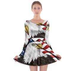 American Eagle Flag Sticker Symbol Of The Americans Long Sleeve Skater Dress
