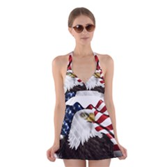 American Eagle Flag Sticker Symbol Of The Americans Halter Swimsuit Dress