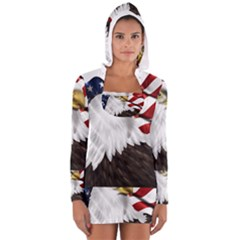 American Eagle Flag Sticker Symbol Of The Americans Women s Long Sleeve Hooded T-shirt