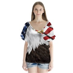 American Eagle Flag Sticker Symbol Of The Americans Flutter Sleeve Top